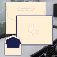 Your Logo Embossed on Folded Notes with Optional Border - Custom Order Embossed Stationery (EG5059)