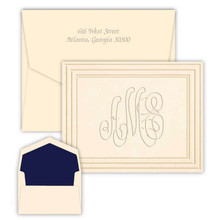 Embossed Stationery Classic Frame Monogram Fold Notes - Bordered Note Cards (EG5050) (Font L123)