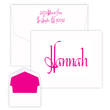 Kids Personalized Fold Notes - Choice of Ink Color - Raised Ink Stationery - 50 Notes/Set (EG3272) (Font L39)