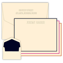 Monte Embossed Flat Cards - Optional Border - Multiple Fonts - Embossed Stationery -  (EG2350)