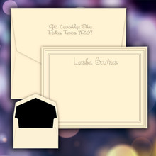 Polished Name & Bordered Frame Flat Cards - Embossed Stationery (EG9005)