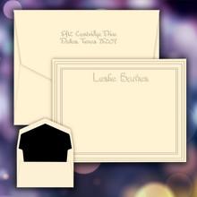 Polished Name & Bordered Frame Flat Cards - Embossed Stationery - FREE SHIPPING (EG9005)