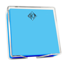 """Colorful Square Monogram Memo Notepads with Acrylic Holder - 5"""" x 5"""" (EG2003)"""