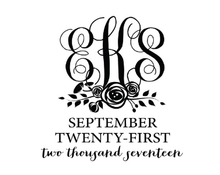 Monogrammed Floral Personalized Self-Inking Wedding Stamp (TD1032)