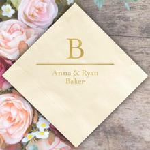 Initial & Name Wedding Napkin - Foil Pressed - 100/Set (EG2687) StationeryXpress.com