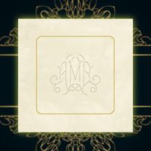 Candor Foil-Frame Monogram Napkins - Embossed - 100/Set (EG2697)Font L145 with Pattern M001, Gold Foil, Ivory Paper