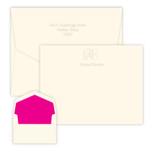 Single Initial & Embossed Name Flat Cards - Embossed Stationery (EG7082)