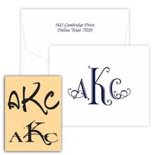 Oceanside Monogram Fold Notes - Raised Ink Stationery (EG2480)