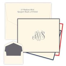 Classic Monogram Fold Notes - Raised Ink Stationery - Optional Border (EG3414)