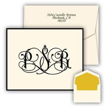 Rhythm Monogram Fold Notes - Raised Ink Stationery - Optional Border (EG3418)