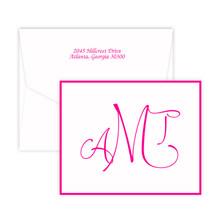 Hand-Drawn Monogram Fold Notes - Raised Ink Stationery - Optional Border (EG3419)