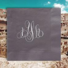 Rome Monogram Personalized Napkins - Foil Pressed - 100/Set | StationeryXpress.com | NX162