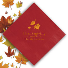 Fall Personalized Napkins - Foil Pressed - 100/Set | StationeryXpress.com | NX106