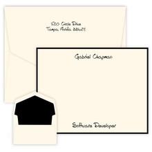 Professional Personalized Oversized Flat Cards - Raised Ink Stationery - Optional Border (EG8098)