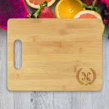 Small Wreath Leaf Personalized Cutting Board - Engraved (EG4016)