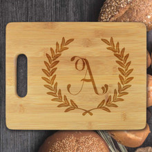 Large Wreath Leaf Personalized Cutting Board - Engraved (EG4021)