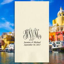 Naples Wedding Monogram Personalized Guest Towels - Foil Pressed - 100/Set NX216 | StationeryXpress.com