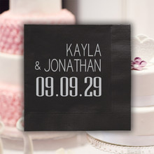 Date Wedding Napkins - Foil Pressed - 100/Box (EG2702)