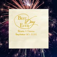 Best Day Ever Wedding Napkins - Foil Pressed - 100/Box (EG2703)
