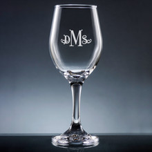 Aroma Monogram Wine Glass with Stem - Personalized Drinkware - 10 Font Styles (EG9402)
