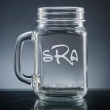 Aroma Monogram Mason Jar - Personalized Drinkware - 10 Font Styles (EG9405)