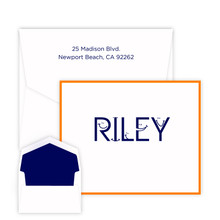 Kids Smiley Font Personalized Folded Note - Raised Ink - Kids Personalized Stationery EG5314 | StationeryXpress.com