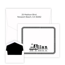 Kids Moving Train Personalized Folded Note - Raised Ink - Kids Personalized Stationery EG5315 | StationeryXpress.com