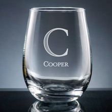 Forte Initial & Name Stemless Wine Glass - Personalized Drinkware - 10 Fonts (EG9413)