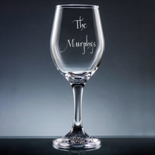 Family Wine Glass with Stem - Personalized Drinkware - 10 Fonts (EG9416)