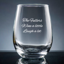 Family Stemless Wine Glass - Personalized Drinkware - 10 Fonts (EG9420)