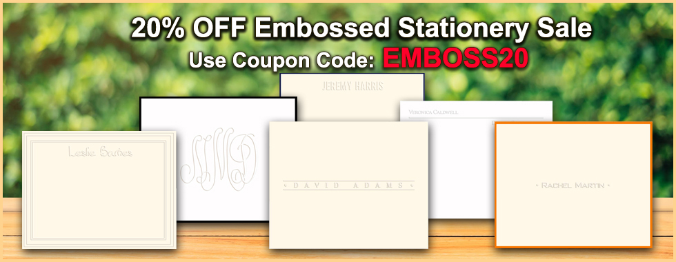 20% OFF Embossed Stationery Sale at StationeryXpress.com